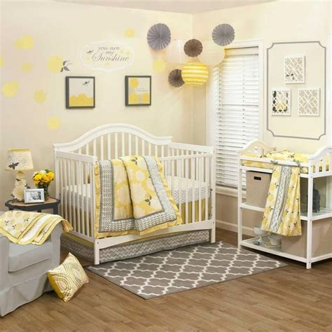 Yellow And Gray Crib Bedding Set Floral Yellow And Gray Infant Baby Nursery 4 Crib Bedding