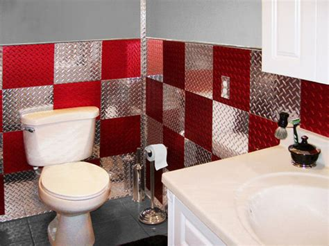 garage bathroom decor red and silver 4 x8 diamond plate aluminum wall tiles