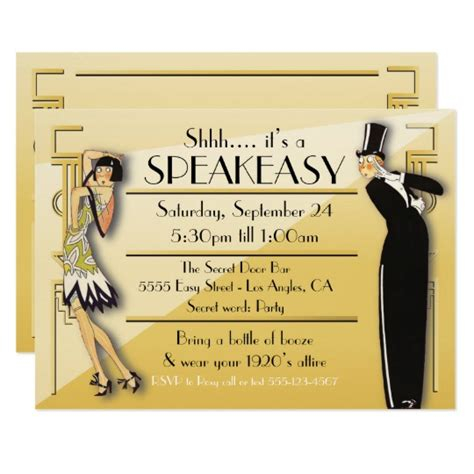 Speakeasy Flapper Great Gatsby Party Invitation Zazzle Com Speakeasy Invitation Template Free