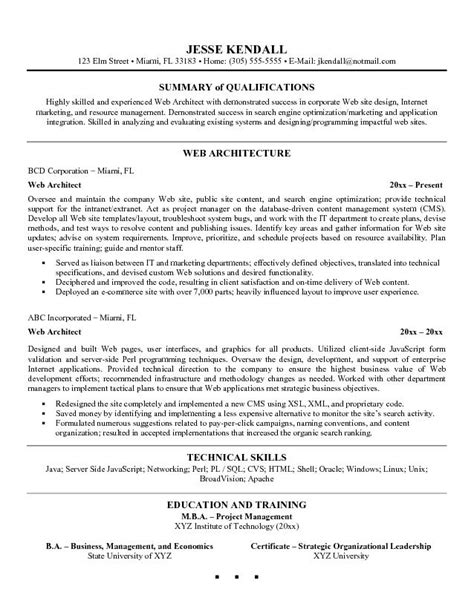 Curriculum Vitae Best Format by Appealing Web Architect Resume Example With Summary Of
