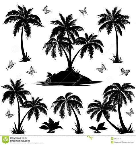 tropical island palms and butterflies silhouettes stock