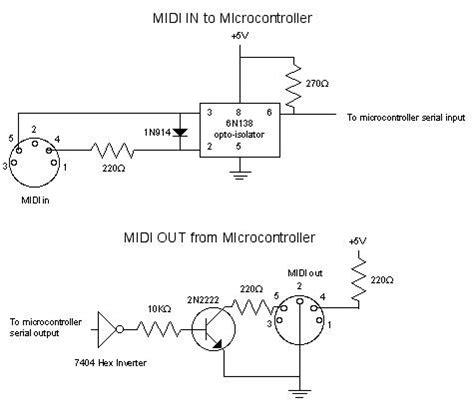 Rb 220 Resistor Ps2 8 Pin midi code circuits construction
