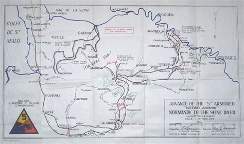seine river map trek of the 5th armored division from normandy to the seine river