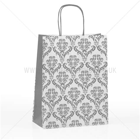 Printable Paper Bags Uk | silver damask print paper carrier bags carrier bag shop