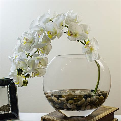 orchid arrangement with silk orchid plant faux artificial