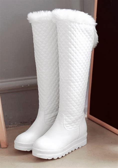 white toe flat faux fur patchwork fashion knee high