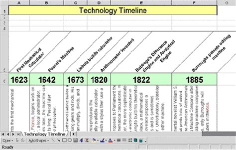 use excel to make a timeline