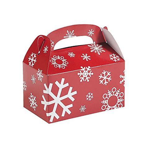 paper red and white snowflake treat boxes 1 dozen