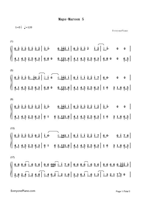 maps maroon   song numbered musical notation preview