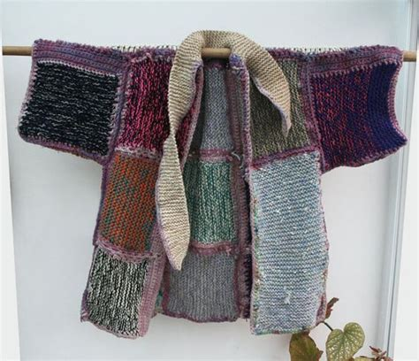 Patchwork Knitting - knit and crochet patchwork kimono coat by