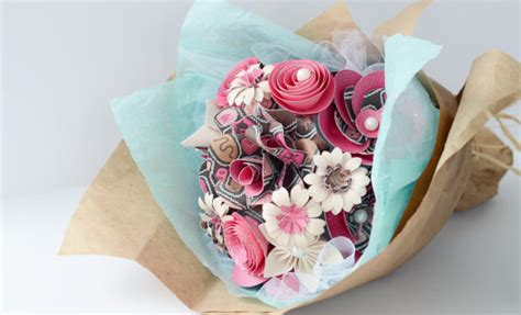 Handmade Paper Flower Bouquet - handmade paper flower bouquet in gift wrap pink by