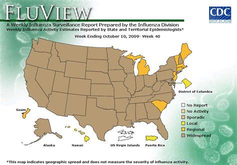 2015 flu map united states past influenza season surveillance report map