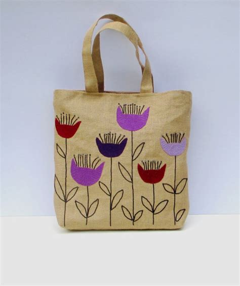 Tote Bag Handmade - the purple flowers handmade jute tote bag unique sporty