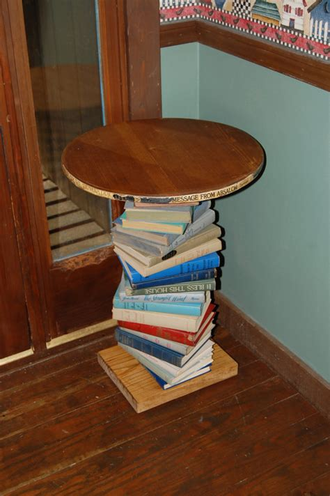book a table pine wood side table made with a spiral of books repurposed