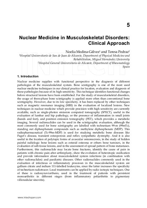 Nuclear Medicine In by Nuclear Medicine In Musculoskeletal Disorders