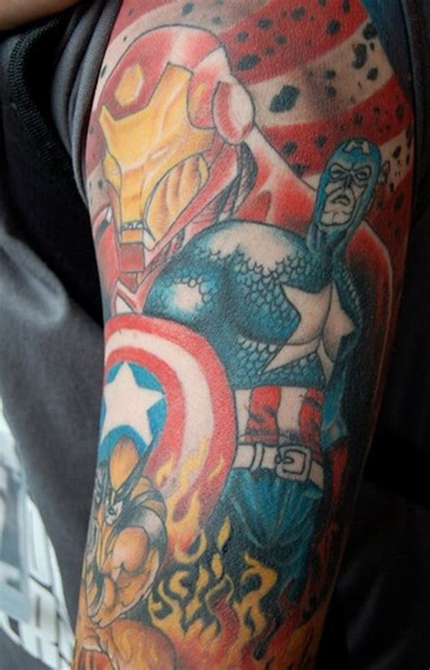 avengers tattoo sleeve 43 tattoos is this earth s mightiest ink mtv