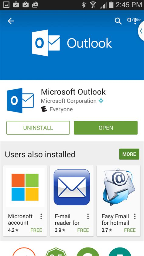outlook app on android set up email workspace email