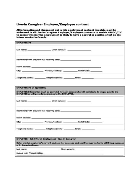 Live In Caregiver Employer Employee Contract Canada Free Download Caregiver Employment Application Template