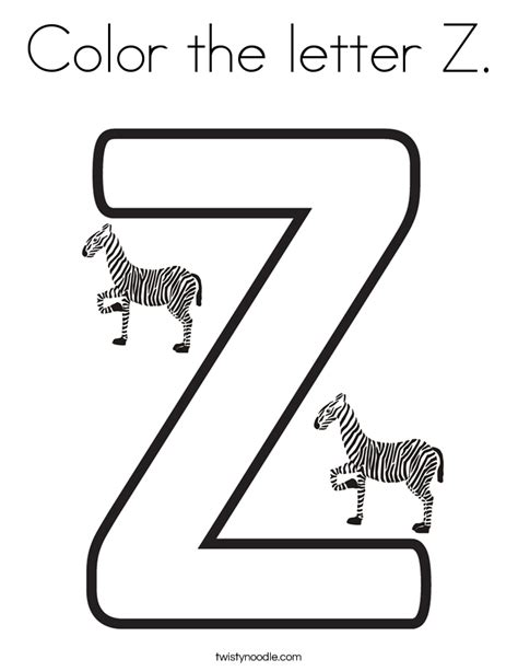 colors a to z color the letter z coloring page twisty noodle