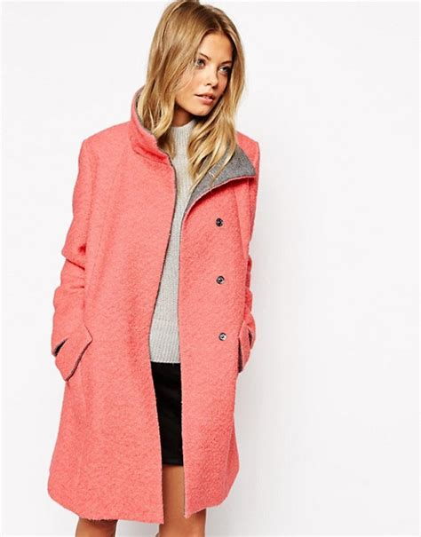 swing back coats asos asos swing coat with funnel neck in textured wool