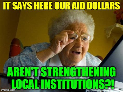 Local Memes - global health icon says aid must build local systems