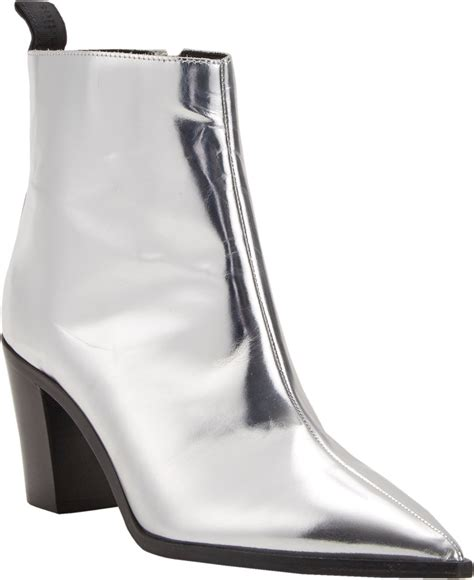 silver boots acne studios metallic loma ankle boots in silver lyst
