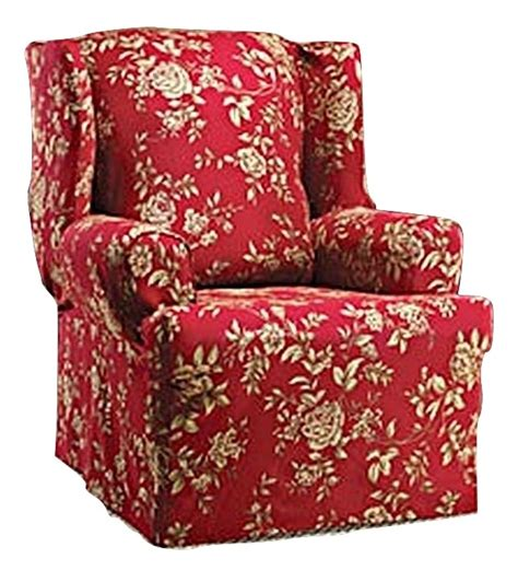 floral chair slipcovers wing chair slipcover floral burgundy red wingback sure fit
