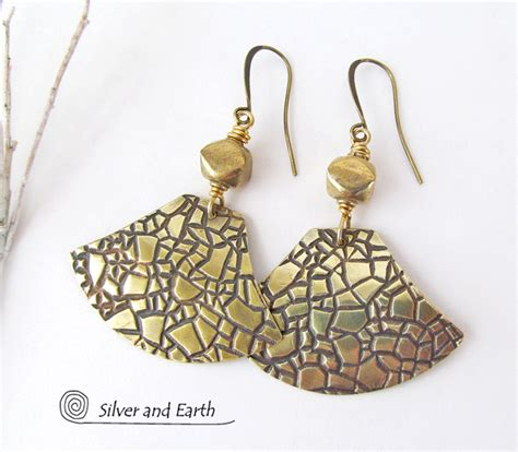 Handcrafted Metal Jewelry - textured gold brass dangle earrings artisan handmade