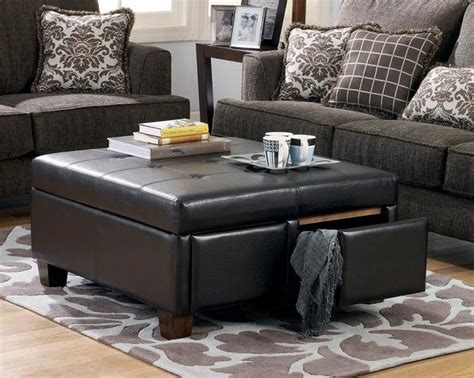 best 25 leather ottoman with storage ideas on