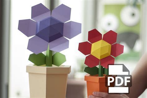 pot flower diy papercraft kit instant from