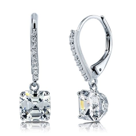 sterling silver cubic zirconia cz leverback dangle