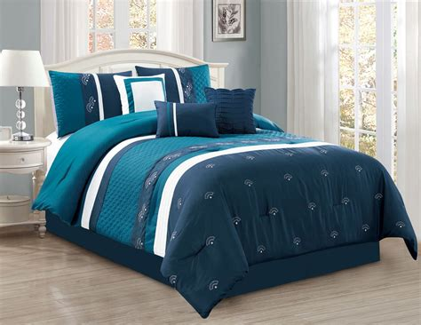 7 piece embroidered fan navy teal white comforter set