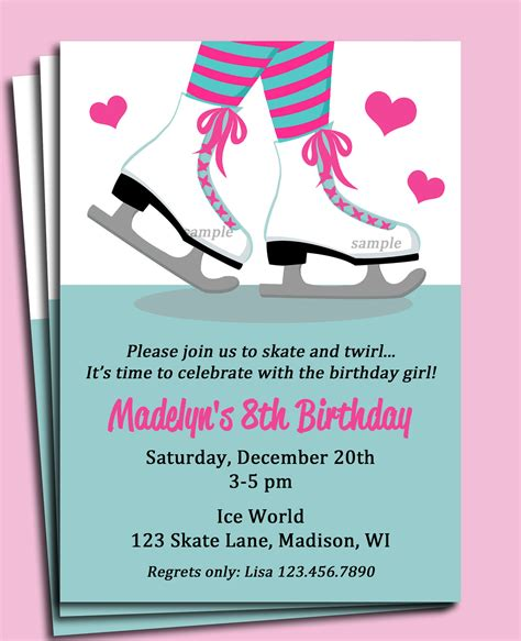 skating invitation printable or printed with free shipping