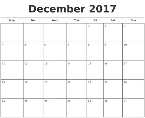 december 2017 monthly calendar template
