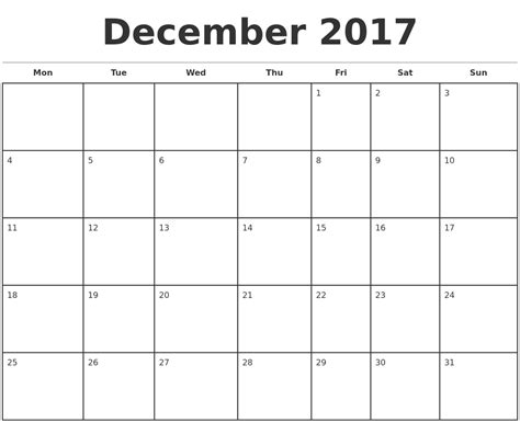 printable monthly calendar 2017 monday start december 2017 monthly calendar template