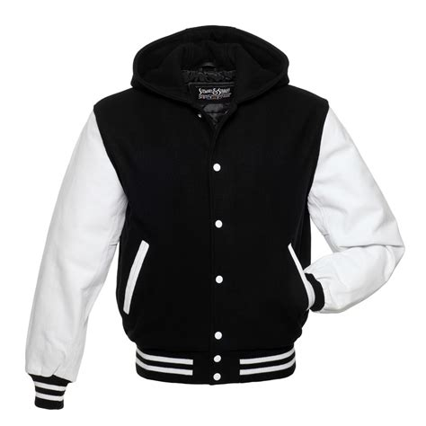 black and white pattern hoodie black wool and white leather letterman jacket h301