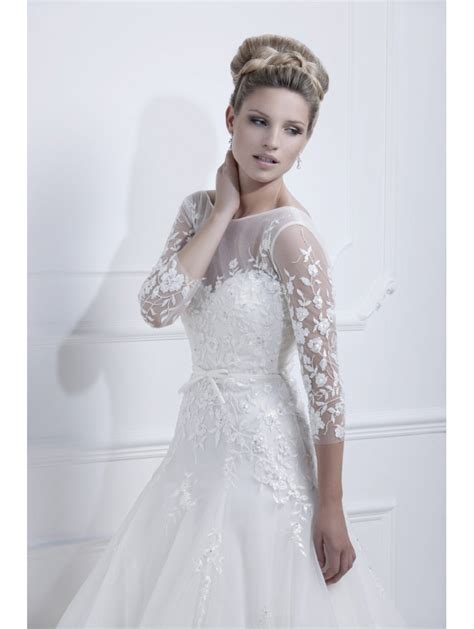 Lace Sleeve Dress ellis bridals 11350 wedding dress with lace sleeves