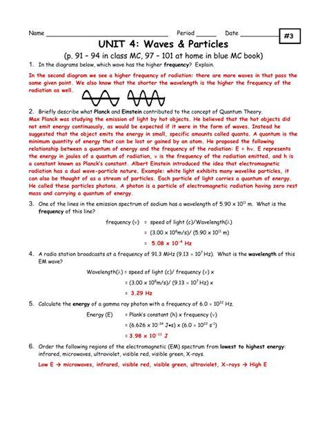Electromagnetic Spectrum Worksheet Answers by Uncategorized Waves And Electromagnetic Spectrum