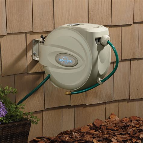 Hose A Matic Wall Mount Garden Hose Reel Holds 5 8in X Wall Mounted Garden