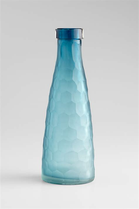 large hummingbird blue glass vase by cyan design