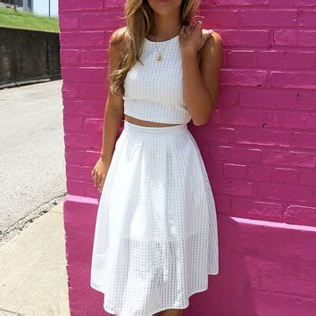 the white crop top a line skirt from amazing lace