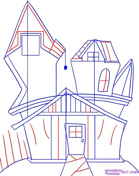how to draw houses how to draw a spooky house step by step halloween