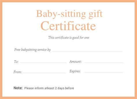 babysitting gift certificate template printable certificate template 46 adobe illustrator