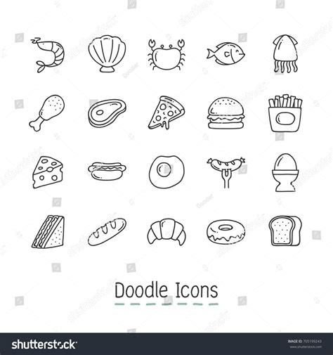 doodle food icons set doodle food icons icon stock vector 705199243