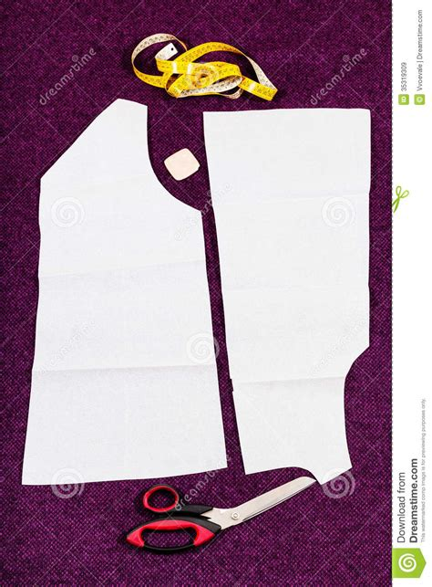dress pattern cutting tools tailor tools and pattern cutting of clothes stock image