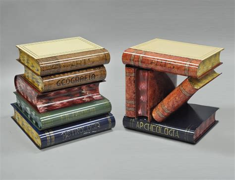 stacked book accent table tole metal painted stacked book form flip top side