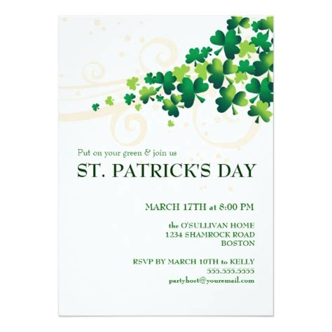 St Patricks Day Irish Shamrock Party Invitation Zazzle St S Day Invitation Template