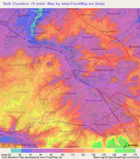 netherlands altitude map elevation of nuth netherlands elevation map topography