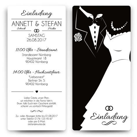 Hochzeitseinladungskarten Ausgefallen by Hochzeitseinladungen Black White Brautpaar Wei 223