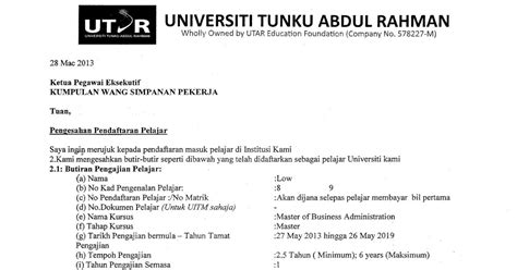 Offer Letter Utar Utar Part Time Mba Study Diary How To Apply Education